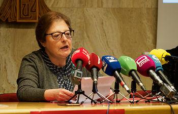 Rosa García, directora de Cáritas Diocesana de Albacete, durante la presentación de la campaña de navidad de Cáritas Albacete. Foto: Manuel Lozano García / La Cerca