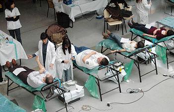 La unidad extrahospitalaria en plena extracción de sangre.