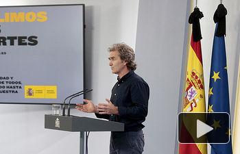 Intervención de Fernando Simón, director del Centro de Coordinación de Alertas y Emergencias Sanitarias. Foto: Pool Moncloa www.lamoncloa.gob.es