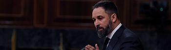 El líder de Vox, Santiago Abascal, durante su intervención en el pleno del Congreso este miércoles. Foto: Europa Press 2020