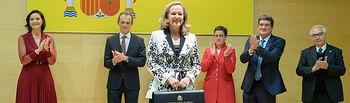 Nadia Calviño, toma posesión de la cartera del Ministerio de Asuntos Económicos y Transformación Digital.