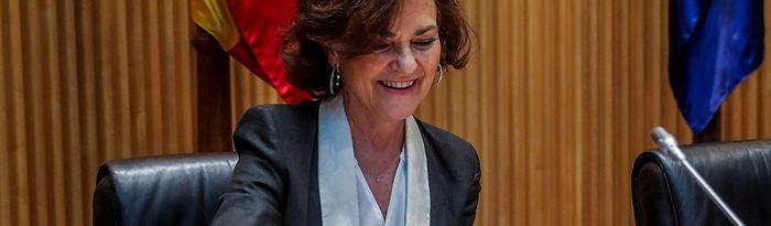 La vicepresidenta primera del Gobierno, Carmen Calvo, arranca la ronda de comparecencias ante la Comisión para la Reconstrucción creada en el Congreso que tratará de acordar una serie de propuestas frente a los efectos sociales y económicos de la crisis del coronavirus. En Madrid (España) a 26 de mayo de 2020.....26 MAYO 2020 POLÍTICA;COVID-19;PANDEMIA;ENFERMEDAD....26/5/2020. Foto: Europa Press 2020