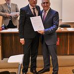 Manuel Lozano Serna (i) y Adolfo Muñoz (d), tesorero de la Academia de Gastronomía de CLM.