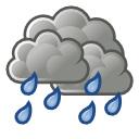 muy nuboso con lluvia / intervalos nubosos con lluvia