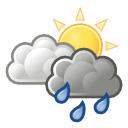 nuboso con lluvia escasa / nuboso